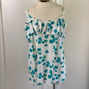Halogen XL floral ruffle silk camisole tank top